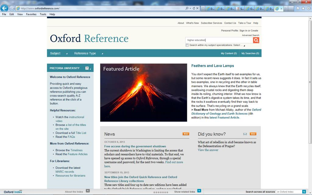 Click on O to go to Oxford references online Do a search in