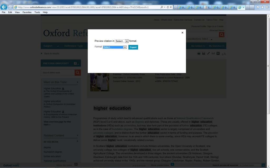 8. Export from Taylor and Francis Go to the library webpage http://www.library.up.