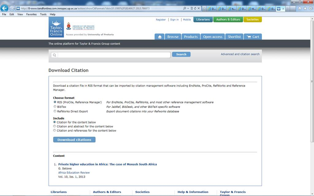 9. Export from Google Scholar Google Scholar can also be customised to work with EndNote. You will need to configure Google Scholar to send references to EndNote.