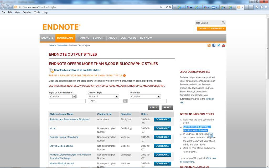 Download styles from the web Search for the appropriate output style on the