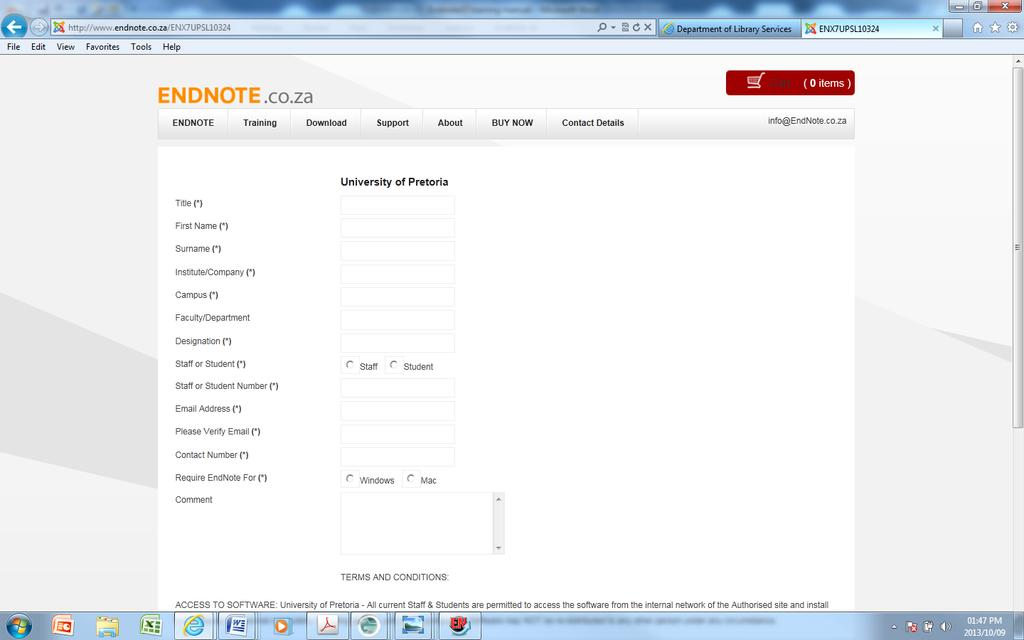 Search databases from within EndNote Exporting References CWYW Install Endnote X7 Go to the library website http://www.library.up.ac.za Click on Referencing http://www.library.up.ac.za/referencing/index.