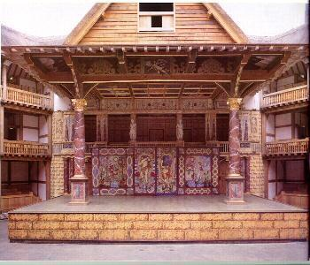 "The stage itself was divided into three levels: a main stage area with doors at the rear and a curtained area in the back for ""discovery scenes""; Globe Theater Stage an upper, canopied area called"