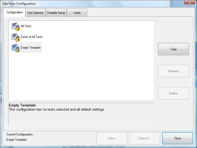Customizing QualiPHY The predefined configurations in the Configuration screen cannot be