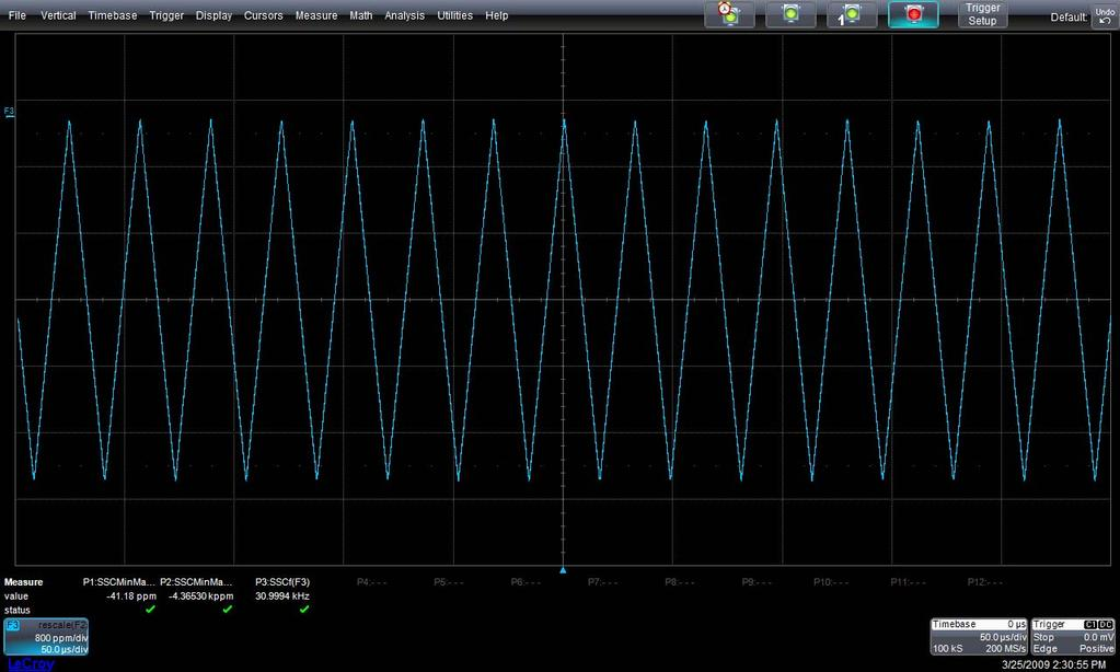 QPHY-USB3 Software Option Figure 12 - Oscilloscope Configuration after the Spread Spectrum Test The oscilloscope screen is now displaying the SSC Track. There are also 3 parameters on the screen.