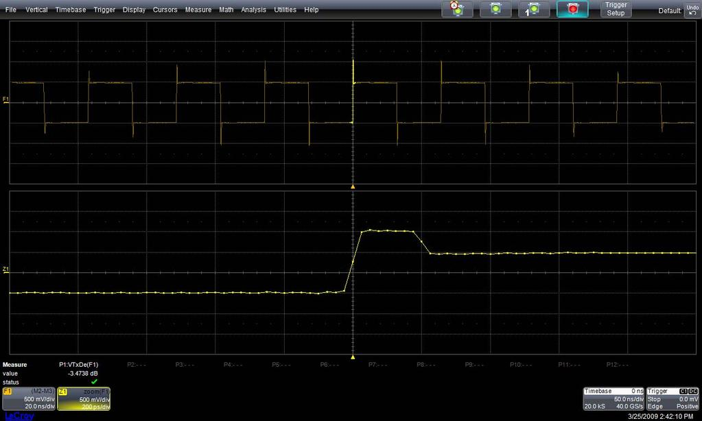 QPHY-USB3 Software Option Figure 14 - Oscilloscope screen after the De-emphasis Ratio Test On the screen are F1, Z1 and P1. F1 is the difference between the two input channels (C2-C3).