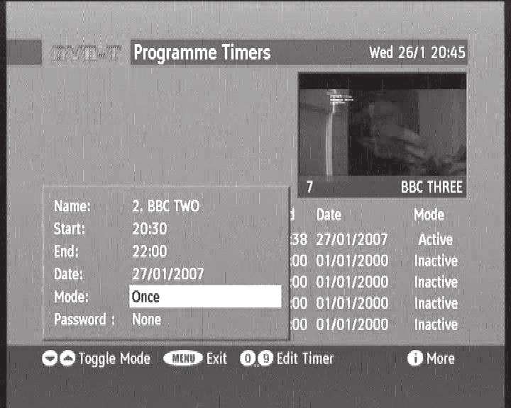 10 - Using the receiver with a VCR A - Programming Go to Menu / Timer. The Timers Programme window lists the programs to be recorded. To program a new recording, press OK on an empty line.