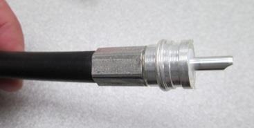 Install the main body of the PL-259 on the coaxial cable taking care to