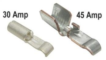 Insert the wire and squeeze the crimp tool until it ratchets and releases. The crimp is complete. The pictures below show the 45 amp connector. This die set has also been used on Molex crimp pins.