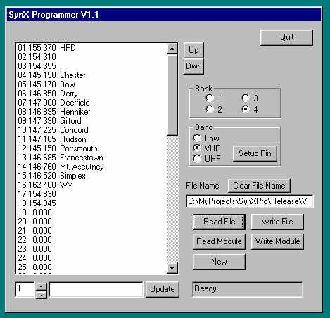 With power applied to the SyntorX, or the serial interface adapter board, start the SynXPrg program executing by pressing the Start Icon and following the pop up menus to Programs, SynXPrg and