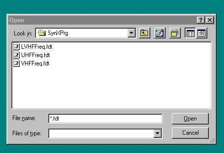 If you have entered the name of a frequency definition file in the File Name dialog box, the specified file will be opened if it exists. 2.