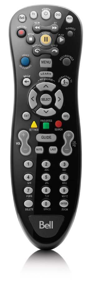 Your remote Your remote control is your key to getting the most out of your Fibe HD PVR or HD receiver. Use this chart below.to familiarize yourself with the remote.