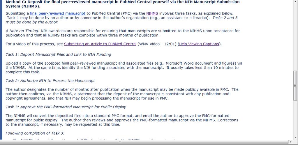 Method C: Deposit the final peer-reviewed manuscript in PubMed Central yourself via the
