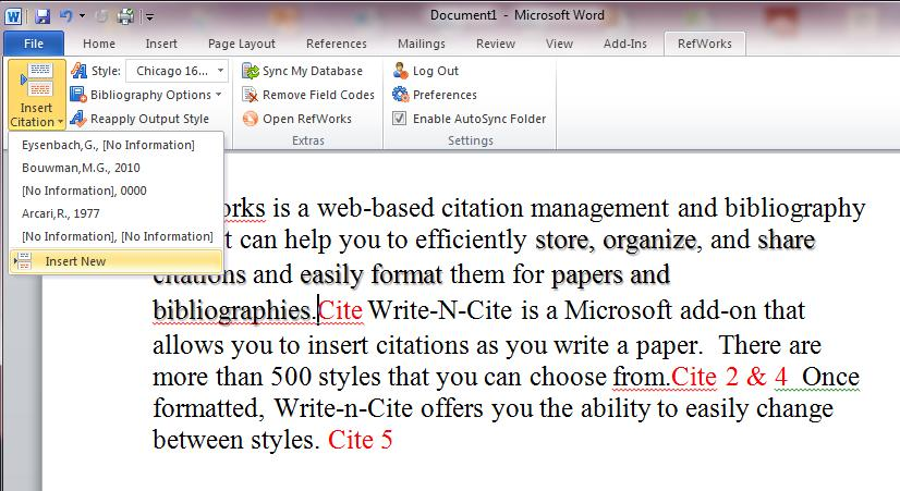 2. Click Insert Citation, and then Insert New (already used citations