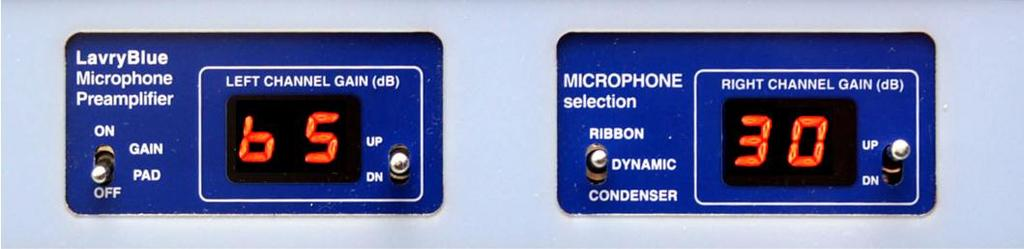 MICROPHONE PREAMP A.) OPERATION The LavryBlue Microphone Preamplifier is a dual channel double width unit.