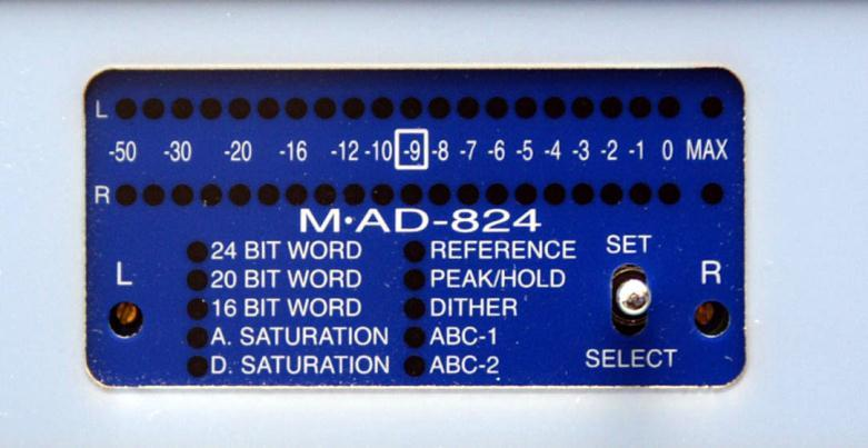 M AD-824 Analog to Digital Converter A.) M AD-824 OPERATION The M AD-824 is a two-channel unit, converting analog audio to AES digital output in wordlengths of 16, 20, or 24 bits.