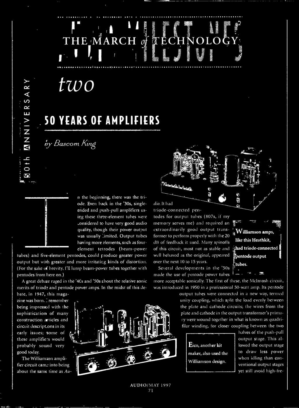 ) A great debate raged in the '40s and '50s about the relative sonic merits of triode and pentode power amps. In the midst of this debate, in 1947, this magazine was born.