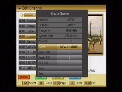 1. Press [OK] on the Satellite item to display the satellite list. You can select the satellite for which you want to create a new channel. 2.