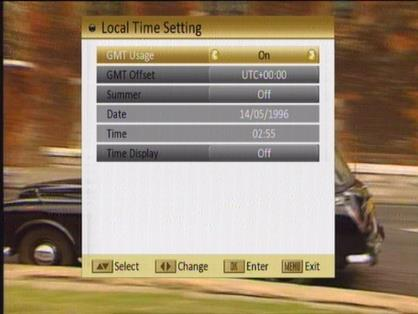 2. Local Time Setting: When you select Local Time Setting and press [OK] then you will see a window like the one beside: GMT Usage: This item is used to set the time by using the time signal from the