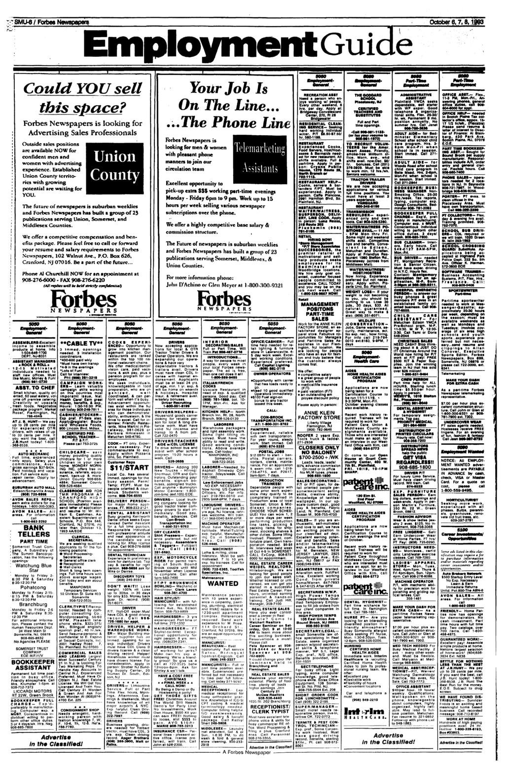 NewspapersEmployment SMU-6 /Forbes October Guide 6,7,8,1993 Could YOU sell this space?