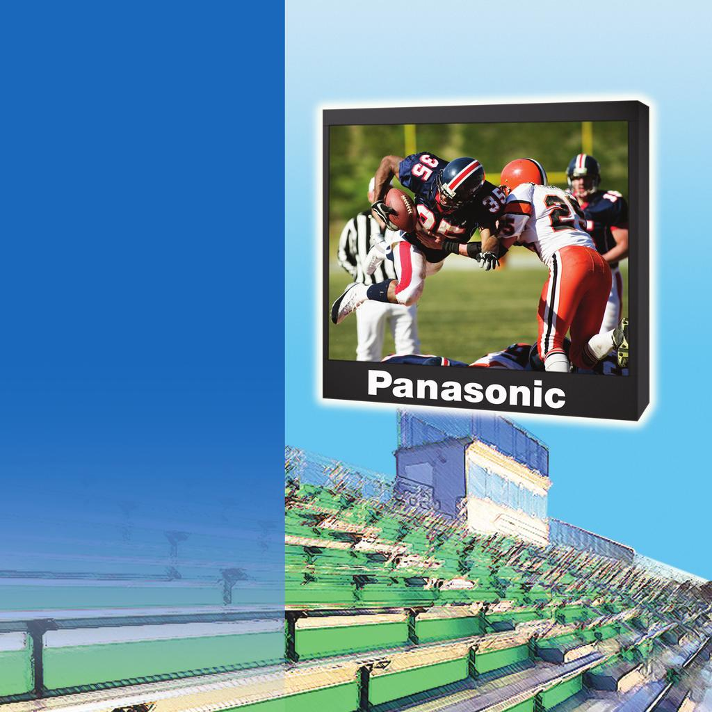 Panasonic LED Large Screen Solutions Get The Complete Picture For Outdoor Sports Bring your outdoor sporting events to life on the big screen with Panasonic LED large screen solutions.
