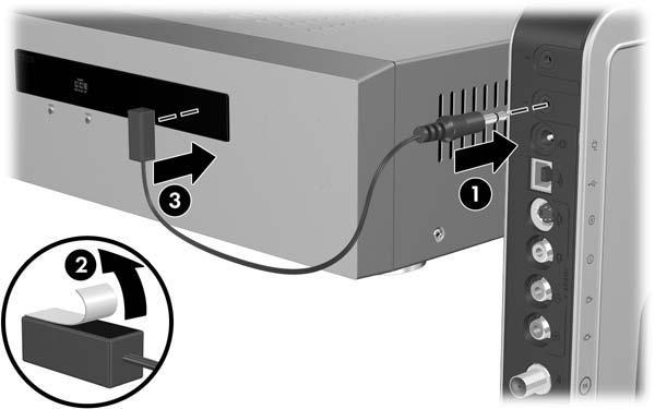 Media Center Setup To connect the IR blaster cable: In a single-tuner connection or to set-top box A in a dual-tuner connection: a.