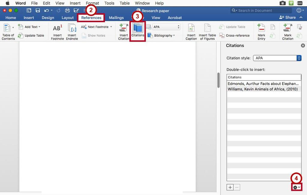 Managing Sources As you continue adding sources to your documents, Word will keep track of your sources.