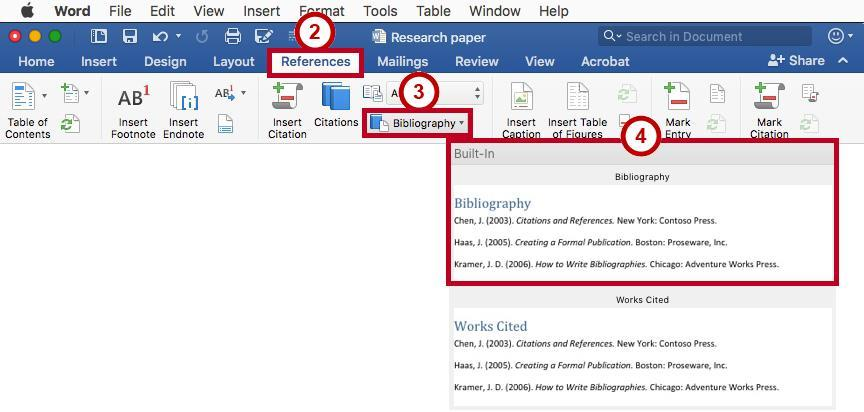 Creating a Bibliography 1. Click in the document where you want to insert your bibliography (e.g. end of the document).