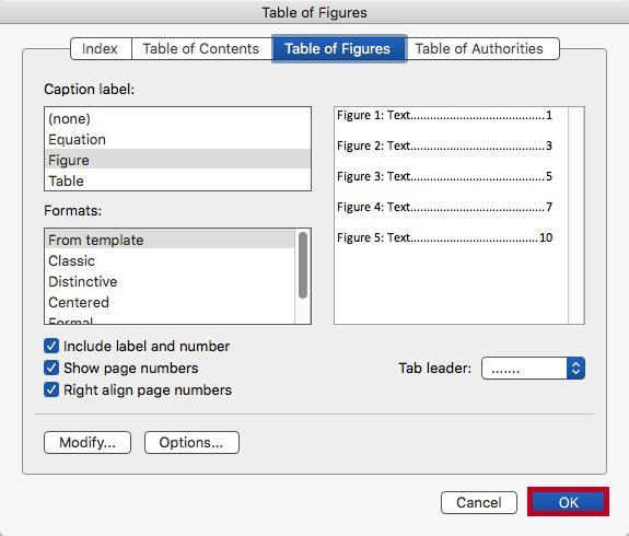 Insert a Table of Figures Similar to Inserting a Table of Contents, using the Insert Table of Figures tool can quickly create a table that contains all of the captions and which page they appear on