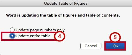Updating the Table of Figures 1. Click the Table of Figures to select it. 2. Click the References tab (See Figure 38). 3. Click Update Table (See Figure 38). Figure 38 - Update Table 4.