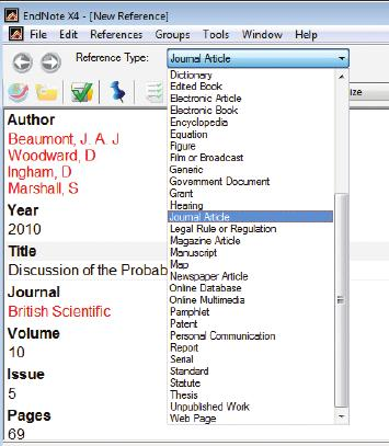5 Manually Creating your EndNote Library continued... Entering References 1. Click on References, New Reference. he new reference window will appear. 2.