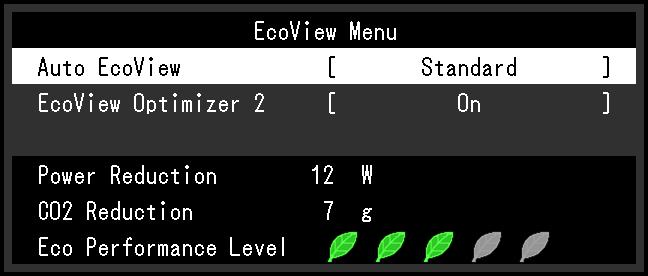 4-4. Checking the power saving level The EcoView menu allows you to check Power Reduction, CO 2 Reduction, and Eco Performance Level.