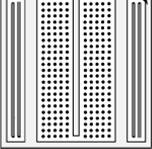 The holes are made so that they will hold the component in place. Each hole is connected to one of the metal strips running underneath the board. Fig. A.5. The breadboard.