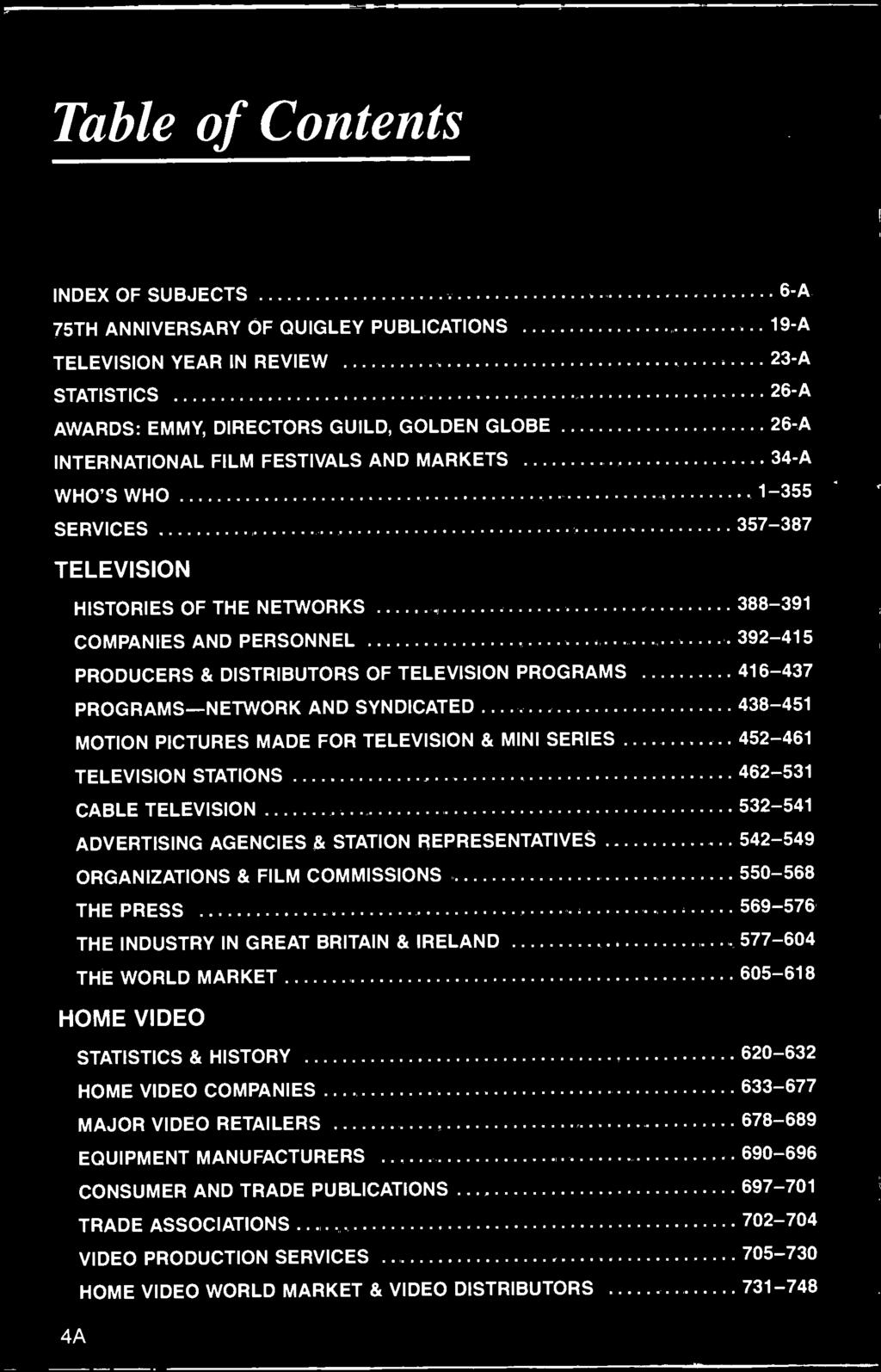 PROGRAMS -NETWORK AND SYNDICATED 438-451 MOTION PICTURES MADE FOR TELEVISION & MINI SERIES 452-461 TELEVISION STATIONS 462-531 CABLE TELEVISION 532-541 ADVERTISING AGENCIES & STATION REPRESENTATIVES