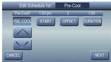 PRE -COOLING SCHEDULES Pressing the Pre -Cooling button opens the Pre -Cooling Setting screen, as shown in Fig.