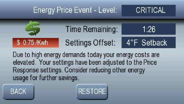 SMART ENERGY FEATURES Restore Normal Settings Although it is advisable to maintain the setpoint offsets for the duration of the event, normal thermostat settings can be restored at any time after the