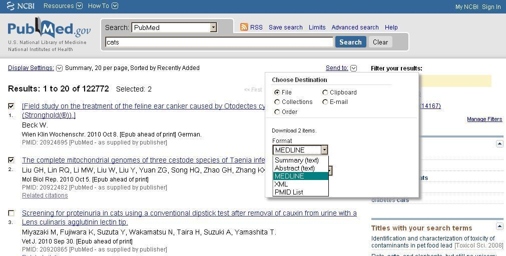 PubMed Step 1 Search for references in PubMed Select relevant references Click on Send to (just above the result list) Select File Change Format to MEDLINE Click on Create File and save references in.