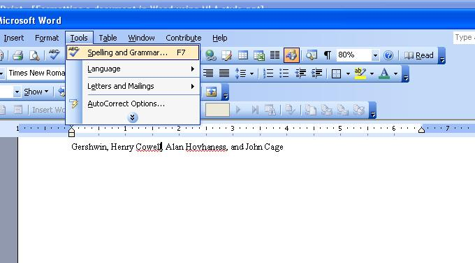 Use Spell/Grammar Check Word 2003 Word 2003 Red lines mean spelling error according to the Word dictionary.