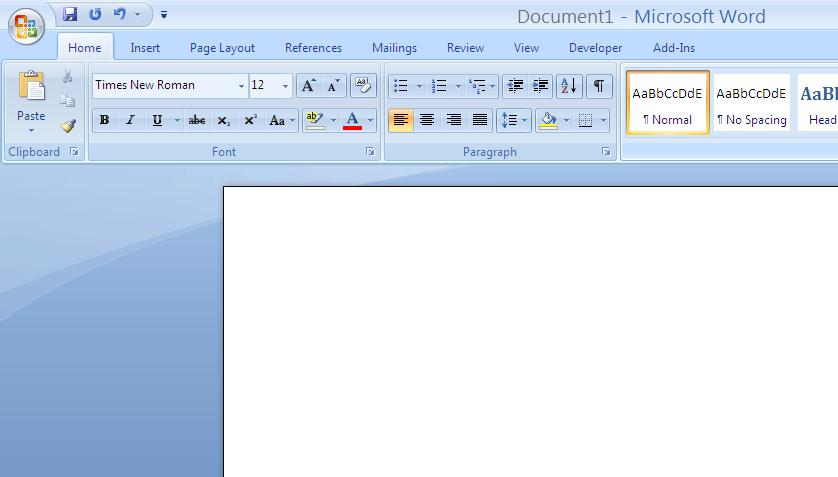 Formatting the paper Word 2007 & 2010 Select a standard Font such as Times Roman
