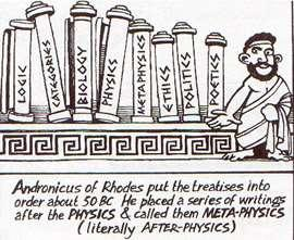 Metaphysics began with Aristotle s many pieces of writings which included his