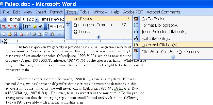 8. Inserting citations into documents (WORD and LaTeX) WORD 8.1 Cite while you write(cwyw) and instant formatting Open a WORD document; use the example paleo.