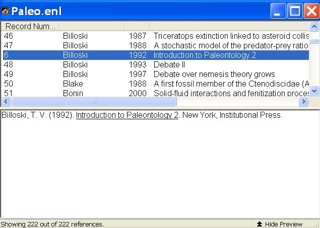 (Billoski 1992) Select Cite While You Write in the Tools menu in EndNote and select Insert Selected Citation(s) or hold down the Alt key and press 2.