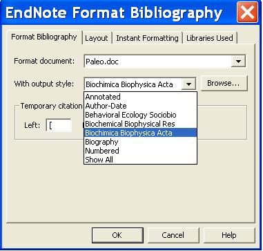 Click on Browse in the previous screen. You will then see an alphabetic list of all the styles available in Endnote. Click on one of the styles and this style will appear in the drop down menu.