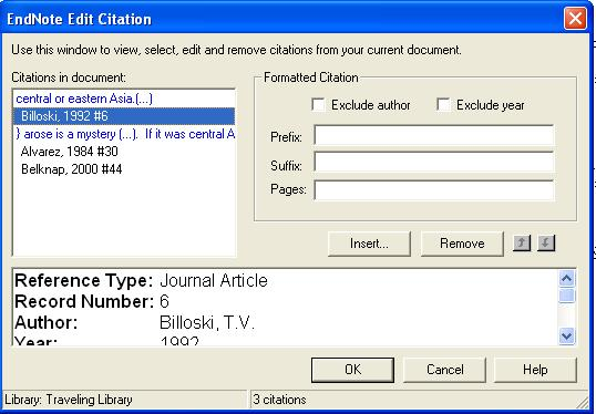 Pages: Page numbers entered here are considered entered into a Cited pages field, so they can be manipulated on output just like any other EndNote field.