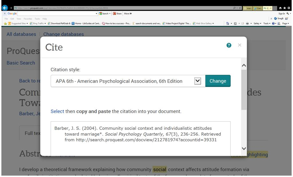 APA Citation help in library E-