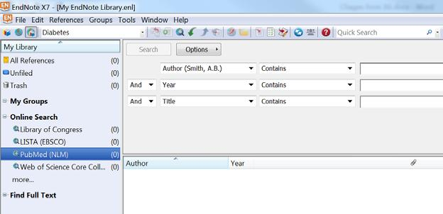 Searching the online database with EndNote Click on PubMed (NLM) in the Online Search section of your My Library pane. o Note that field names have changed to match those used in PubMed.