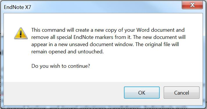 Submission of a manuscript for publication often requires EndNote field codes to be removed. In the EndNote X7 toolbar click on Convert Citations and Bibliography, Convert to Plain Text.