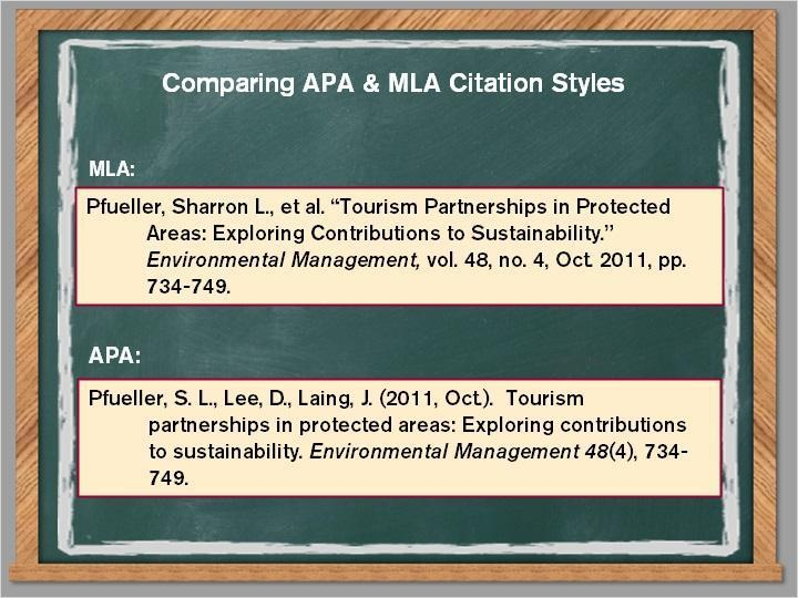 3.6 APA & MLA Comparison Let s compare some common differences and similarities of the APA and MLA styles: MLA uses the author s full name; APA uses last name and initials APA has the date follow the
