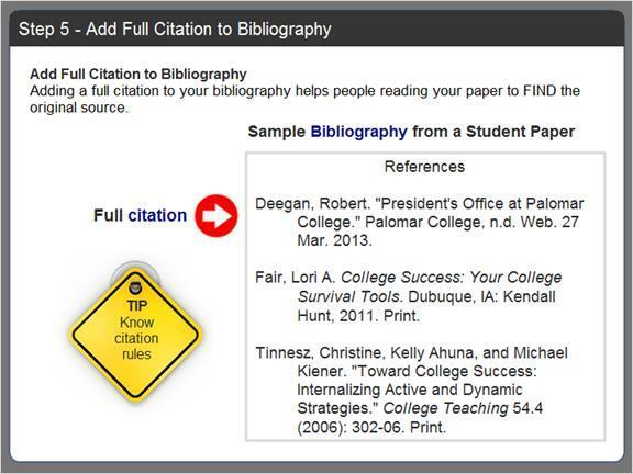 2.2.8.5 Step 5 - Add Full Citation to Bibliography The last step is to add a full citation of the source to your bibliography.