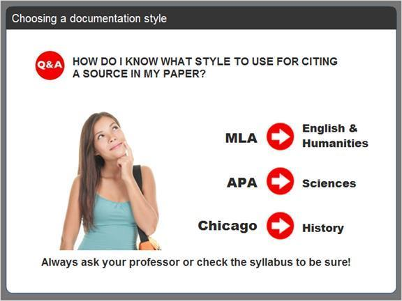 2.2.11 Choosing a documentation style Before you can begin citing a source, you have to decide which documentation style to use. So how DO you know which style to use when you write your paper?