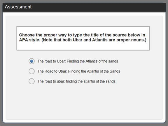 2.3.5 Assessment Now select the proper APA style for the title of the